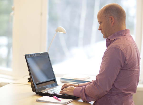 Henrik Eskilsson, the CEO of Tobii Technology, uses the eye gaze to control the computer